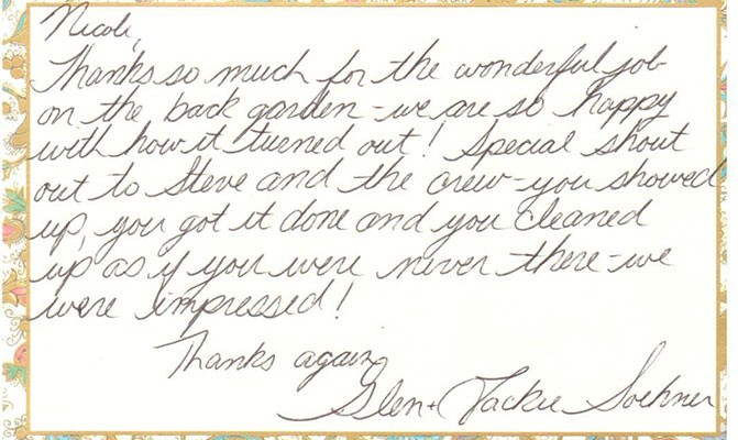 A letter of thanks van oordt landscaping a letter of thanks thecheapjerseys Gallery